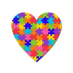 Funny Colorful Jigsaw Puzzle Heart Magnet by yoursparklingshop