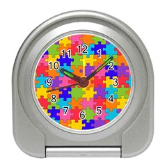 Funny Colorful Jigsaw Puzzle Travel Alarm Clocks by yoursparklingshop