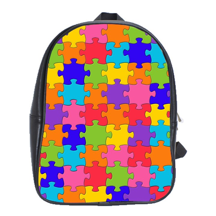 Funny Colorful Jigsaw Puzzle School Bags(Large)