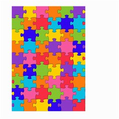 Funny Colorful Jigsaw Puzzle Large Garden Flag (two Sides) by yoursparklingshop
