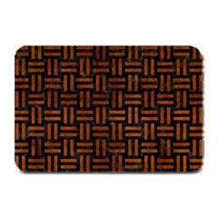 Woven1 Black Marble & Brown Burl Wood Plate Mat by trendistuff