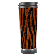Skin4 Black Marble & Brown Burl Wood (r) Travel Tumbler