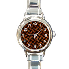 Houndstooth2 Black Marble & Brown Burl Wood Round Italian Charm Watch by trendistuff