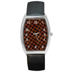 Houndstooth2 Black Marble & Brown Burl Wood Barrel Style Metal Watch by trendistuff
