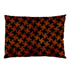 Houndstooth2 Black Marble & Brown Burl Wood Pillow Case by trendistuff