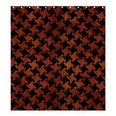 Houndstooth2 Black Marble & Brown Burl Wood Shower Curtain 66  X 72  (large) by trendistuff