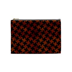 Houndstooth2 Black Marble & Brown Burl Wood Cosmetic Bag (medium) by trendistuff