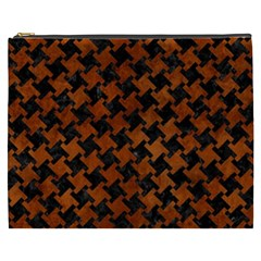 Houndstooth2 Black Marble & Brown Burl Wood Cosmetic Bag (xxxl) by trendistuff