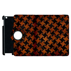 Houndstooth2 Black Marble & Brown Burl Wood Apple Ipad 2 Flip 360 Case