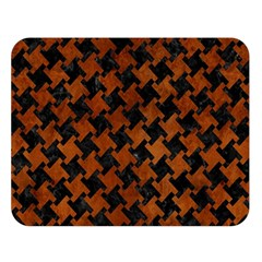 Houndstooth2 Black Marble & Brown Burl Wood Double Sided Flano Blanket (large) by trendistuff