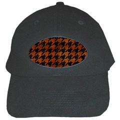 Houndstooth1 Black Marble & Brown Burl Wood Black Cap by trendistuff