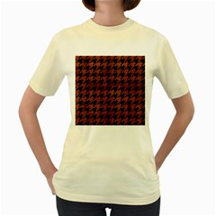 Houndstooth1 Black Marble & Brown Burl Wood Women s Yellow T Shirt by trendistuff