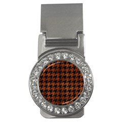 Houndstooth1 Black Marble & Brown Burl Wood Money Clip (cz) by trendistuff