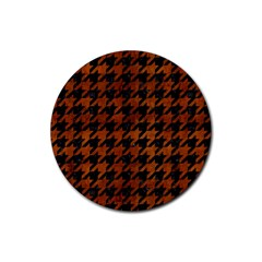 Houndstooth1 Black Marble & Brown Burl Wood Rubber Round Coaster (4 Pack) by trendistuff