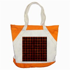 Houndstooth1 Black Marble & Brown Burl Wood Accent Tote Bag by trendistuff