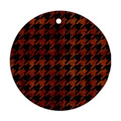 Houndstooth1 Black Marble & Brown Burl Wood Round Ornament (two Sides) by trendistuff