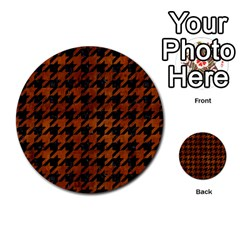 Houndstooth1 Black Marble & Brown Burl Wood Multi Purpose Cards (round) by trendistuff