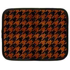 Houndstooth1 Black Marble & Brown Burl Wood Netbook Case (large) by trendistuff