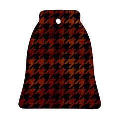 Houndstooth1 Black Marble & Brown Burl Wood Ornament (bell) by trendistuff
