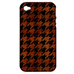 Houndstooth1 Black Marble & Brown Burl Wood Apple Iphone 4/4s Hardshell Case (pc+silicone) by trendistuff