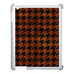 Houndstooth1 Black Marble & Brown Burl Wood Apple Ipad 3/4 Case (white) by trendistuff