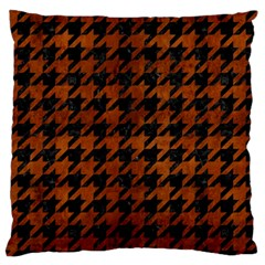 Houndstooth1 Black Marble & Brown Burl Wood Standard Flano Cushion Case (two Sides) by trendistuff
