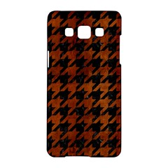Houndstooth1 Black Marble & Brown Burl Wood Samsung Galaxy A5 Hardshell Case  by trendistuff