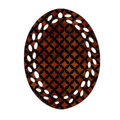 Circles3 Black Marble & Brown Burl Wood (r) Oval Filigree Ornament (two Sides) by trendistuff