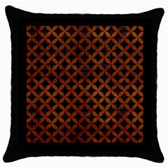 Circles3 Black Marble & Brown Burl Wood Throw Pillow Case (black) by trendistuff