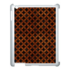 Circles3 Black Marble & Brown Burl Wood Apple Ipad 3/4 Case (white) by trendistuff