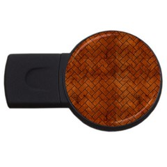 Brick2 Black Marble & Brown Burl Wood (r) Usb Flash Drive Round (4 Gb) by trendistuff