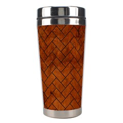 Brick2 Black Marble & Brown Burl Wood (r) Stainless Steel Travel Tumbler by trendistuff