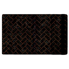 Brick2 Black Marble & Brown Burl Wood Apple Ipad 2 Flip Case by trendistuff