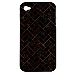 Brick2 Black Marble & Brown Burl Wood Apple Iphone 4/4s Hardshell Case (pc+silicone) by trendistuff