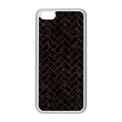 Brick2 Black Marble & Brown Burl Wood Apple Iphone 5c Seamless Case (white) by trendistuff