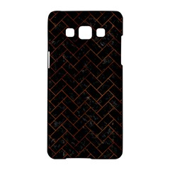 Brick2 Black Marble & Brown Burl Wood Samsung Galaxy A5 Hardshell Case  by trendistuff