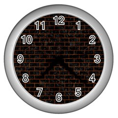 Brick1 Black Marble & Brown Burl Wood Wall Clock (silver)