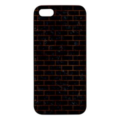Brick1 Black Marble & Brown Burl Wood Apple Iphone 5 Premium Hardshell Case by trendistuff