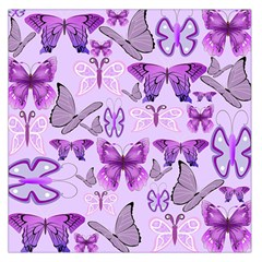 Purple Awareness Butterflies Large Satin Scarf (square) by FunWithFibro