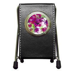 Violet Pen Holder Desk Clocks by SugaPlumsEmporium
