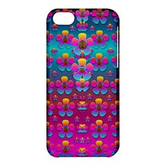 Freedom Peace Flowers Raining In Rainbows Apple Iphone 5c Hardshell Case by pepitasart