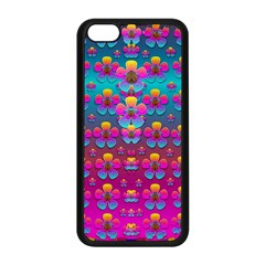Freedom Peace Flowers Raining In Rainbows Apple Iphone 5c Seamless Case (black) by pepitasart
