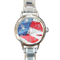 Folded American Flag Round Italian Charm Watch by StuffOrSomething