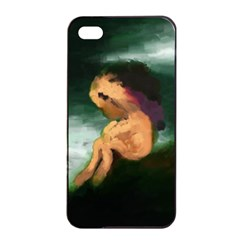 Hand Painted Lonliness Illustration Apple Iphone 4/4s Seamless Case (black) by TastefulDesigns