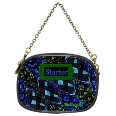 Blue Green Design Chain Purse (two Sided)