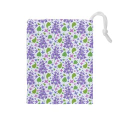 Liliac Flowers And Leaves Pattern Drawstring Pouches (large)  by TastefulDesigns