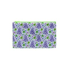 Liliac Flowers And Leaves Pattern Cosmetic Bag (xs) by TastefulDesigns