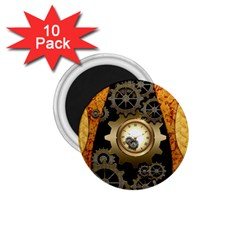 Steampunk Golden Design With Clocks And Gears 1 75  Magnets (10 Pack)  by FantasyWorld7