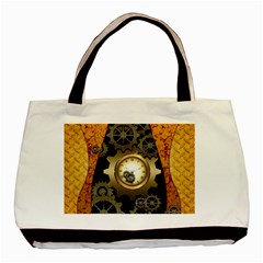Steampunk Golden Design With Clocks And Gears Basic Tote Bag by FantasyWorld7