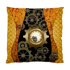 Steampunk Golden Design With Clocks And Gears Standard Cushion Case (one Side) by FantasyWorld7